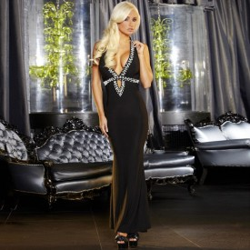 Вечернее черное платье в пол от Hustler